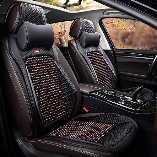 kangsheng Sommer Holz Perlen Autositzbezüge,Autositz Protector Cool Atmungsaktiv,Verstellbare abnehmbare Leder Holz Perlen für 5-Sitzer Auto Material (Black,Deluxe Edition)