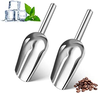 AIEVE Ice Scoop, 2 PCS Stainless Steel Small Ice Scoop Ice Machine Maker Candy Scoop Flour Spoon Shovel Ice Cream Scoop An...