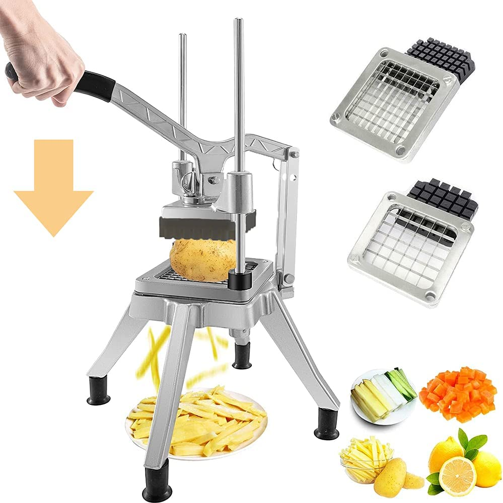 tonchean Commercial Vegetable Fruit Chopper Stainless Steel French Fry Cutter With 1/2'', 3/8'' Blades Professional Food Dicer Vegetable Slicer Cutter for Onion, Potato, Tomato