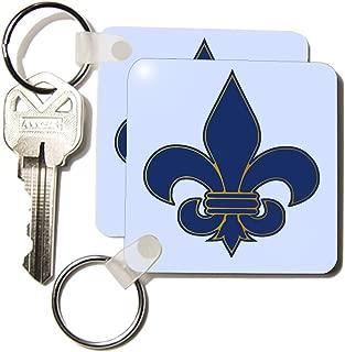 3dRose Large Navy Blue and Gold Fleur de lis Christian Saints Symbol - Key Chains, 2.25 x 4.5 inches, set of 2 (kc_22361_1)