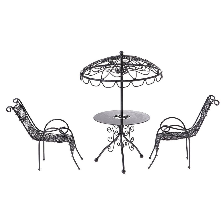 ポジティブ割り当てます慈悲Baoblaze 1/12ドールハウス ミニチュア テーブル チェアセット アウトドア ガーデンシーンモデル