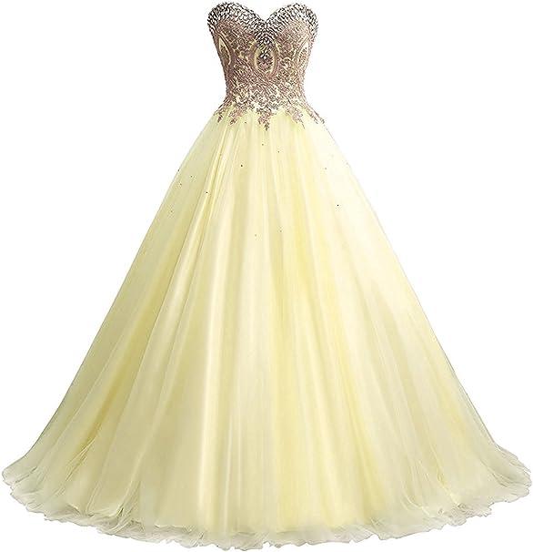 Carnivalprom Damen Quinceanera Kleider Mit Spitze Abendkleider Lang Perlstickerei Ballkleid Amazon De Bekleidung