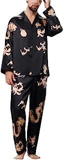 Mens Pyjamas Geometric Print Long-sleeved Pajamas for Men Sleepwear Two Pieces Thin Pyjama Set
