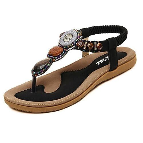 70513819a907 Zicac Women s Round Peep Clip Toe Bead Elastic T-Strap Bohemia Roman  Sandals Summer Beach