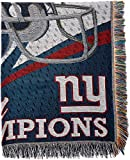Officially Licensed NFL New York Giants 'Commemorative' Woven Tapestry Throw Blanket, 48' x 60', Multi Color