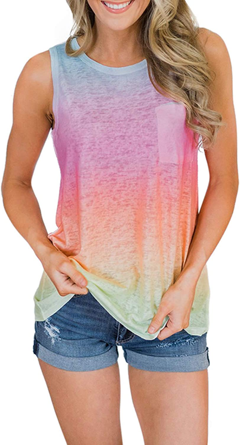 Biucly Women's Round Neck Tie-dye/Gradient Cami Tank Tops Casual Twist Loose Sleeveless Blouse Shirts