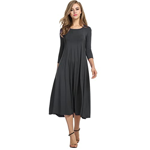 e9c7784775e3 Hotouch Women s 3 4 Sleeve A-line and Flare Midi Long Dress