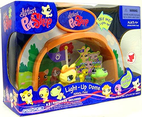 Littlest Pet Shop - Exclusive - Super Light-Up Dome Playset - Athletic Field - mit Katze 1090 & Frosch  1091 - OVP