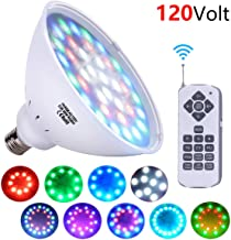 XIUBE 120V 36W PAR56 LED Pool Light Bulb, Fit in for E26/E27 Pool Light Fixtures, RGB Color Changing for Inground Pool (Switch Control + Remote Control)