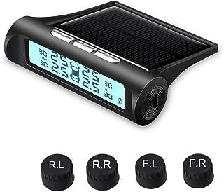 Solarbetriebenes Reifendruckkontrollsystem mit 4 externen Sensoren, Zigarettenanzünder Stecker, einstellbarer Anzeigewinkel, kabelloses TPMS Monitor Solarsystem