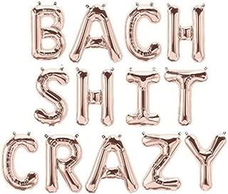 Rose&Wood Bach Shit Crazy Foil Letter Balloons Hanging Banner for Bridal Shower Bachelorette Party, 16