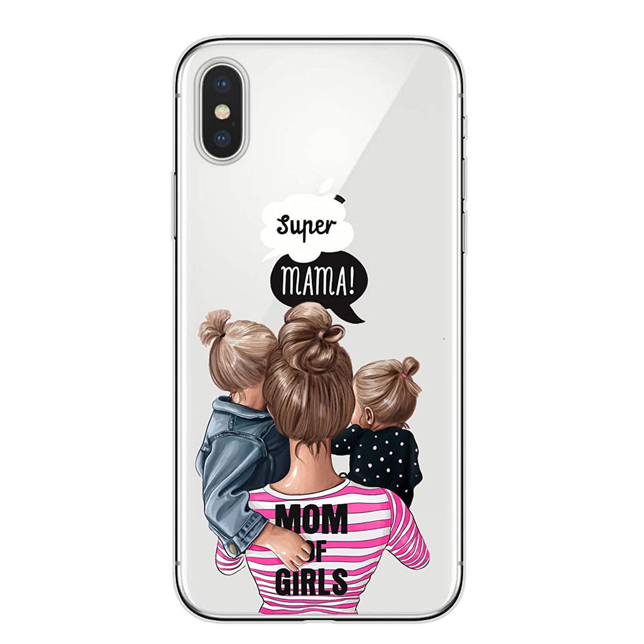 Phone Case Black Brown Hair Baby Mom Girl for iPhone X XR XS Max 6 6s 7 7Plus 8 Plus 5S SE Super Mom Soft TPU Cover Capa,T2771,for iPhone X