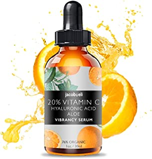 Vitamin C Serum - Top Influencer - Organic & Vegan - Packed With Hyaluronic Acid, Aloe, Jojoba Oil, Vitamin E & more - Good for Acne, Anti Wrinkle, Anti Aging, Fades Age Spots - Sun Damage