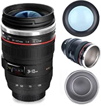 Camera Lens Coffee Mug With Lid, Photo Coffee Cup Stainless Steel Photographer Lens Mug Thermos TMANGO