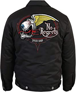 Men's Custom Embroidered Mechanic Jacket with No Regrets Flying Eyeball Graphics