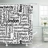 AIDEMEI Stadt Städte Der Welt Nennt Paris Muster Trip Duschvorhänge Wasserdichtes Polyestergewebe Mit Haken 180X180Cm