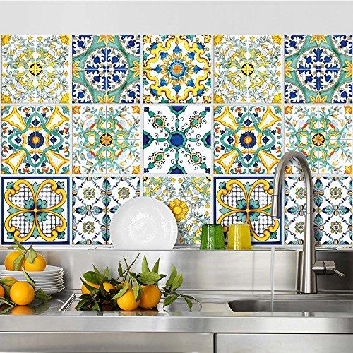 Adesivi per piastrelle bagno e cucina 24 Pz 15x15 cm - PS00078 Made in Italy - Mattonelle autoadesive in PVC impermeabili antigraffio Wall stickers cementine peel and stick