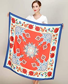 Scarves for Women Print Twill Square Silk Scarf Shawl Bandana for Head Large Hijab for Ladies 110 * 110cm