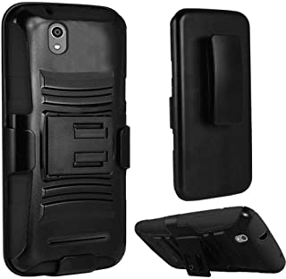 New Holster + Kickstand Hybrid Scratch Resistance Case Phone Cover Accessory for ZTE Lever Z936L LTE (Black)