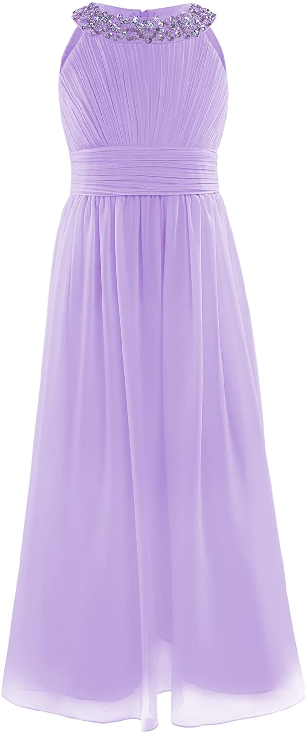 Freebily Youth Girls Chiffon Pleated High-Waisted Flower Girl Dress for Bridesmaid Wedding Pageant Party Long Ball Gown