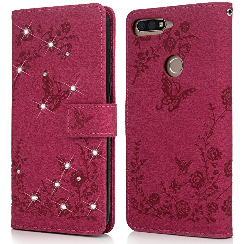Huawei Y7 2018 Handyhülle Honor 7C Hülle Glitzer Starss Schmetterling Muster Leder Tasche Flip Case Cover Schutzhülle Silikon Handtasche Skin Ständer Klapphülle Schale Bumper Magnetverschluss-Roserot - 4