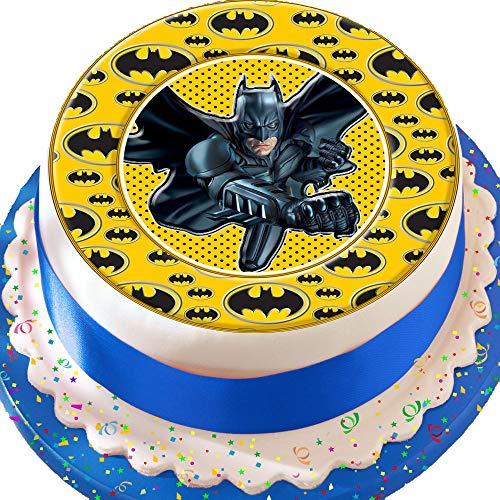 Tortenaufleger mit Batman-Logo-Umrandung, essbarer Zuckerguss, vorgeschnitten