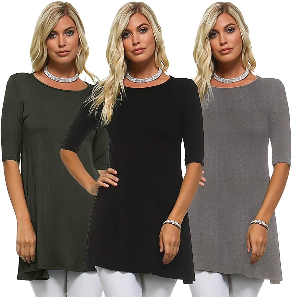 Isaac Liev Women's Tunic Top – 3 Pack Casual 3/4 Sleeve Scoop Neck Long Flowy Swing Basic Blouses T Shirts Made in USA