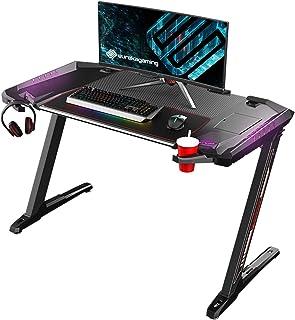 EUREKA ERGONOMIC Bureau Gaming Z2 Bureau Gamer (Nouveaux Design) PC Informatique Table Desk avec RVB Tapis Souris Rétracta...