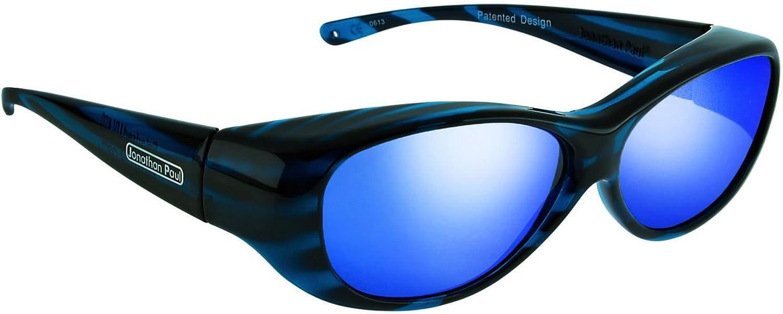 Fitovers Kiata Medium Polarized Over Sunglasses ; Teal Stripe & Polarvue bluee Mirror