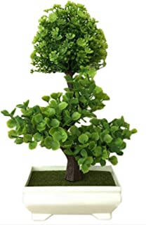Artificial Simulation Plant Potted Ornament Bonsai Flower Ornament Office Fake Plant Fortune Grass Ball Decor,Green