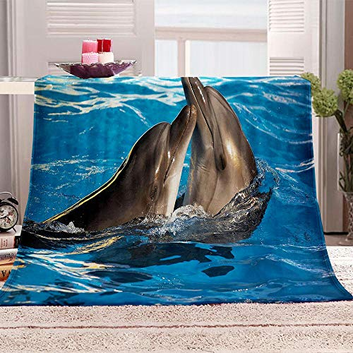 ZZFJFQ 3D Flanelldecke Blau & Delphin für Couch,Sofa,Überwurf,Decke,Plüsch,gemütlich,für Büro,Nickerchen,Luftreisen,tragbar,warme Decke 150x200cm