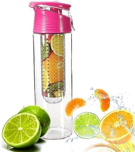 JUNGEN 800ML Fruit Infusant Bouteille D'eau Avec infuseur de Fruits et Flip Lid Jus de Citron Faire Sans Bouteille BPA
