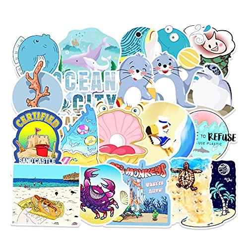 JZLMF 50 Pegatinas de decoración Marina Personalizadas con Cuentas de Mano para Equipaje, Scooter, Coche, Grafiti, Pegatinas