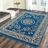 Rinki Home Furnishing 5D Designer Superfine Exclusive Velvet Carpet   Rug   Living Room   Bedroom   Hall   School   Temple   Bedside Runner   60' inch x 84' inch   5 Feet x 7 Feet (Blue)