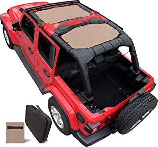 Shadeidea Jeep Wrangler Sun Shade JL Unlimited 4 Door Front and Rear 2 piece-Tan Mesh Screen Sunshade JLU Top Cover UV Blocker with Grab Bag-One time Install 10 years Warranty