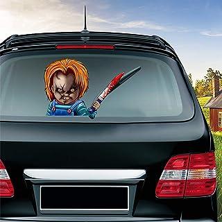 MIYSNEIRN Halloween Bloody Chucky Waving Wiper Decal for Rear Window 3D Cartoon Festive Car Sticker Reusable Waterproof Vi...