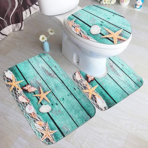 3 Piece Bath Rugs Mat Set, Bath Mat for Bathroom, Bathroom Mats Rugs Flannel Mats, Machine Washable Carpets Floor Mat for Bathroom Kitchen, Tub Toilet Contour Mat Lid Cover, Beach Starfish Decorations