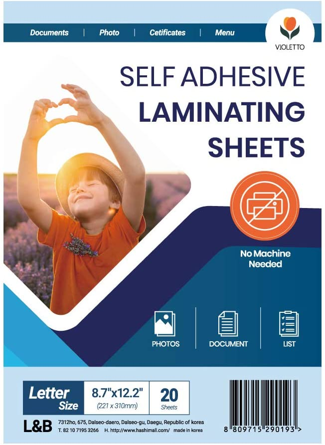 (20 Sheets) VIOLETTO Self Adhesive Laminating Sheets, Self-Seal, No Machine Needed, Letter Size, 9 x 12 Inch