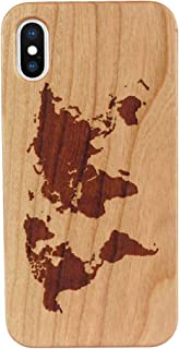 Personalized Engraved Wood Phone 8 Plus Case Unique World Map Design Natural Carved Wood Phone Case for Phone 7 Plus/8 Plus