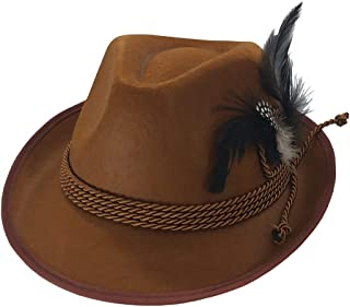 Brown German Oktoberfest Alpine Hat- Bavarian Swiss Traditional Tyrolean Felt Costume Fedora with Feather for Kids and Adults