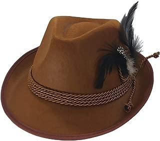 Brown Oktoberfest German Alpine Tyrolean Hat