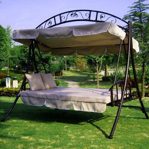 WEIHU LUXUS Hollywoodschaukel-Gartenschaukel mit Bettfunktion -Breite 215cm-Höhe 219cm-Tiefe 160cm -Modell:GEA-Creme-Belastung 200Kg