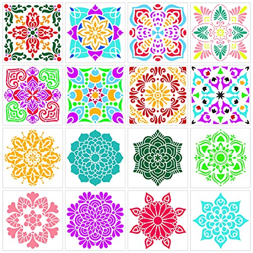 Qpout 16 piezas Plantillas de pintura de mandala, 5.9x5.9 pulgadas Mandala de...