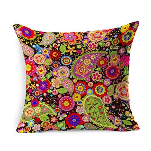 Funda de Almohada de Lino Square Love Power Floral Hippie Fiesta simbólica Resumen 60S Kitsch Paisley Retro Poppy Pillowcase Decoración para el hogar Funda de cojín 18x18 Pulgadas