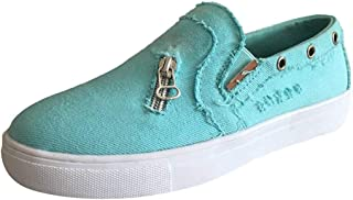 Aegwrse Women's Peas Shoes Summer Flat-Bottomed Casual Single Shoes Zipper Loafers Flats