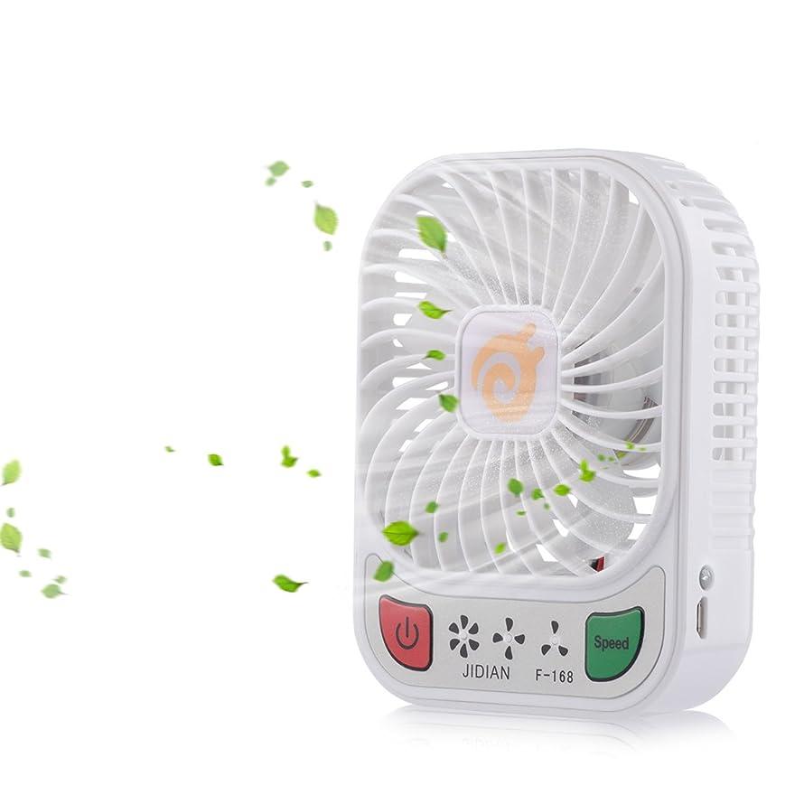 D-FantiX 4-inch Portable Fan 3 Speeds Mini USB Fan Rechargeable Desktop Fan Handheld Fan Battery Operated LED Light (White)
