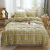 Houseri Yellow Grid Comforter Set Queen Yellow and Gray Comforter Buffalo Plaid Bedding Full Gingham Bedding Comforters Sets for Teens Girls Boys Women Men Cotton Farmhouse Bedding Sets Queen