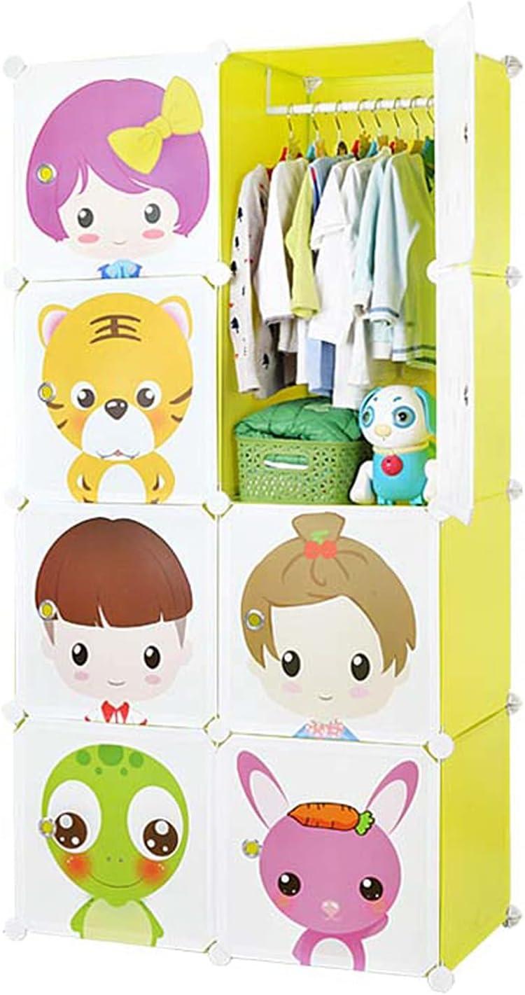 armario Armario portátil para colgar ropa, armario de combinación, gabinete modular para ahorrar espacio, organizador de almacenamiento de ropa, 8 cubos (patrón aleatorio) Armario de almacenamiento