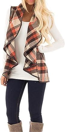 4b937b047f0 Yacun Women Vest Open Front Buffalo Plaid Sleeveless Cardigan Shawl Coat