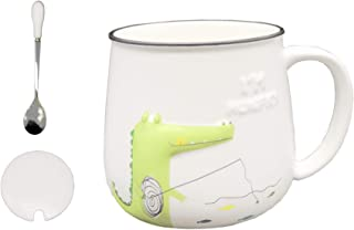 DecoLife Cute Dinosaur Coffee Mug (12 Oz) White Ceramic Mug With Emboss Carto Unon Pattern - Perfect Gift For Birthday And Festivals, Green and White